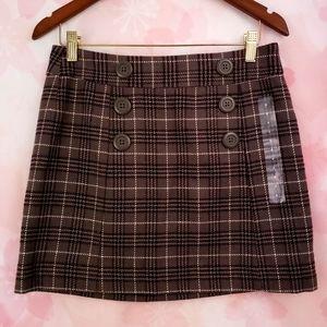 NWT Gap Brown Plaid Button Mini Skirt